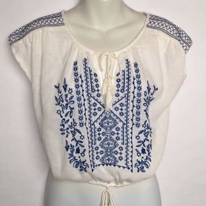Forever 21 Gauze Embroidered Tie Blouse SMALL